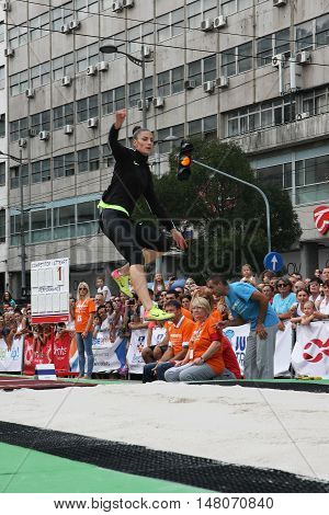 BELGRADE,SERBIA - SEPTEMBER 11 2016: Ivana Spanovic testing long jump runway for competition as promotion of European athletics indoors championship which will be held from 3-5.March 2017 in BelgradeSerbia