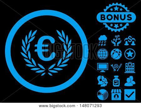 Euro Glory icon with bonus elements. Vector illustration style is flat iconic symbols, blue color, black background.
