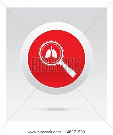 Lungs observing. Medical icon. Red vector button.