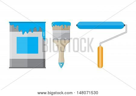 Metal tin can with paint, paintbrush and roller painter. vector illistration in flat style on blue background