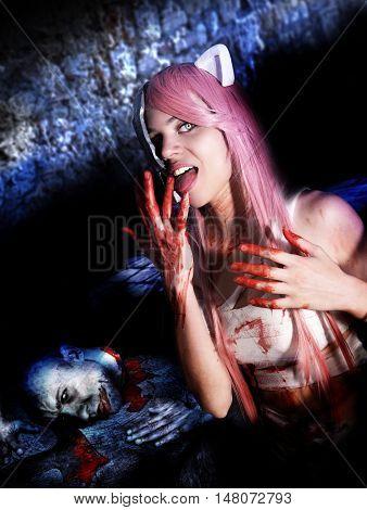 mad cheerleader killing man in Halloween horror house