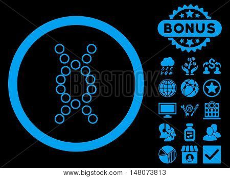 Genome icon with bonus design elements. Vector illustration style is flat iconic symbols blue color black background.