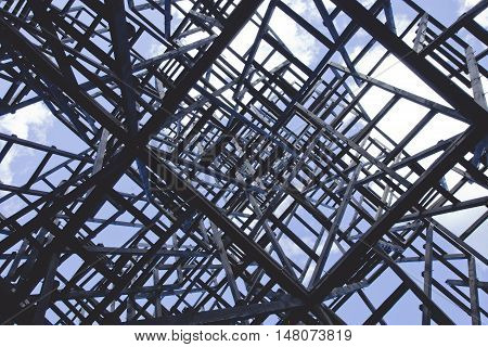 Chaotic structure. Abstract angular dark geometric texture