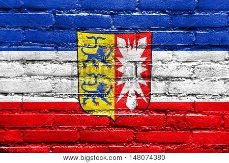 Flag Of Schleswig-holstein With Coat Of Arms, Germany, Painted On Brick Wall