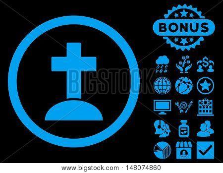 Grave icon with bonus elements. Vector illustration style is flat iconic symbols, blue color, black background.
