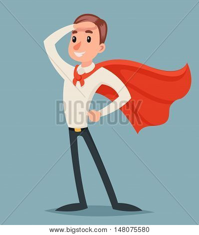 Brave Hero Ready Action Businessman Character Icon Retro Cartoon Design Vector Illustration poster