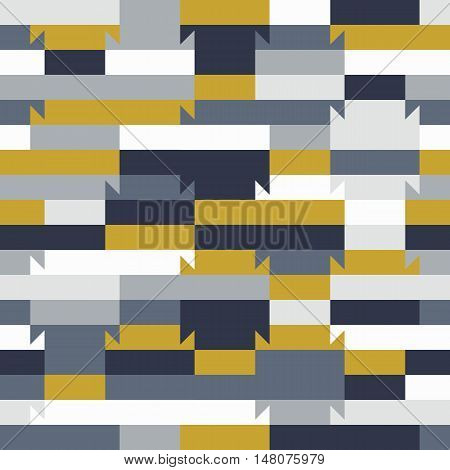 Abstract geometric color blocked pattern with lines, stripes, bricks,  random geometric shapes. Vector seamless abstract print in op art style. Colorful bold textile design for summer fall fashion