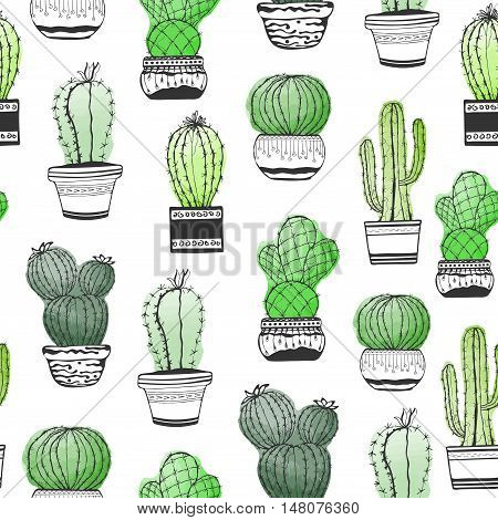 Hand drawn succulent ornament with cactus. Seamless pattern with cactus colorful isolated on a white background. Styling watercolors.