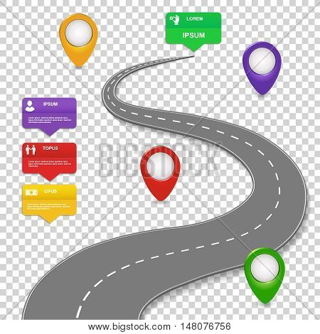 Navigation infographics design. Concept with car road. Roadmap with map pins, sign or markers. Vector illustration