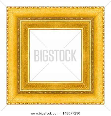 picture frame gold wooden carved frame pattern isolated on white background