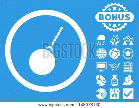 Destruction Hammer icon with bonus pictogram. Vector illustration style is flat iconic symbols, white color, blue background.