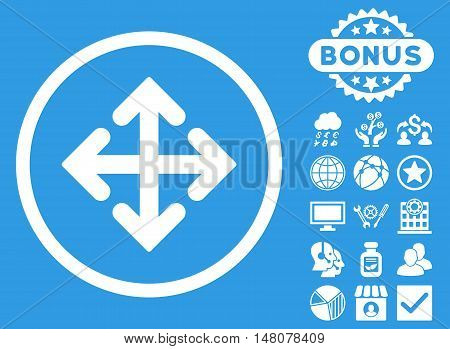 Direction Variants icon with bonus pictures. Vector illustration style is flat iconic symbols, white color, blue background.