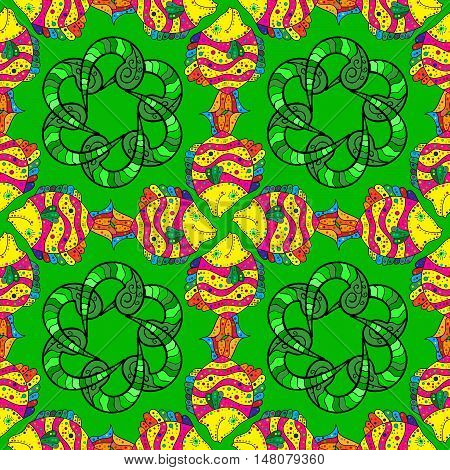 Green background with green floral doodles mandalas and doodles fishes.