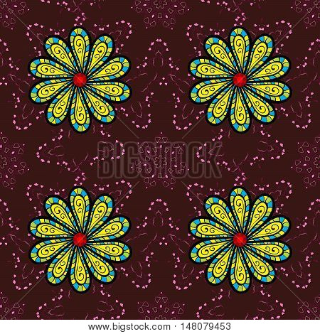 Brown and Pink seamalees pattern background with petals green and yellow flowers.