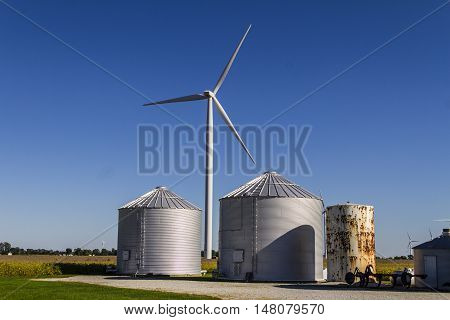 Wind Farm in Central Indiana. Wind and Solar Green Energy areas are becoming very popular in farming communities I