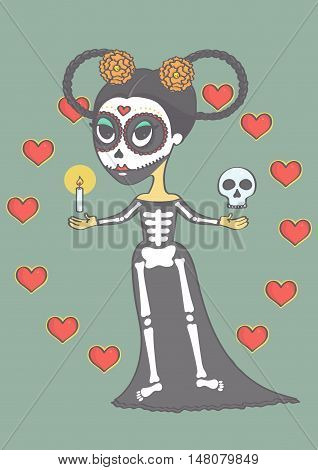 Cute sugar skull girl for day of the dead or Halloween. Colorful vector illustration for day of the dead or halloween.