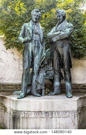 VIENNA AUSTRIA - JUNE 24 2016: Memorial statue of Joseph Lanner and Johann Strauss the Elder in Vienna Austria