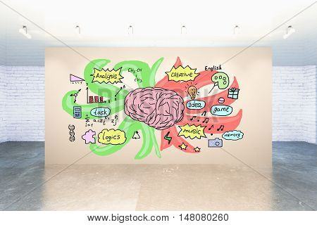 Creative sketch on human brain's left and right sides depicting analytical and creative traits on light wall in interior. 3D Rendering