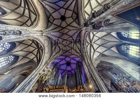 VIENNA AUSTRIA - JUNE 24 2016:  Interior St. Stephen's Cathedral (Stephansdom) is the mother church of the Roman Catholic Archdiocese of Vienna.