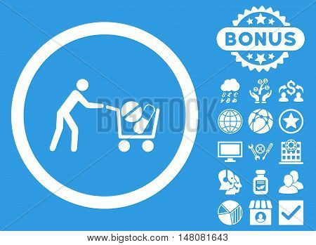 Drugs Shopping Cart icon with bonus elements. Vector illustration style is flat iconic symbols white color blue background.