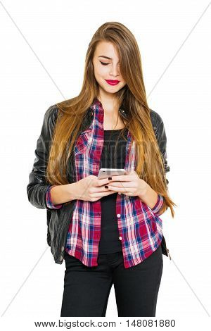Cool millennial teenage girl smiling using smart phone. Beautiful modern young woman with long blonde hair texting. Medium retouch, vibrant color, isolated on white background.