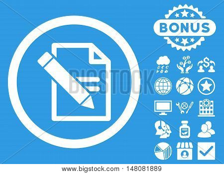 Edit Records icon with bonus elements. Vector illustration style is flat iconic symbols white color blue background.