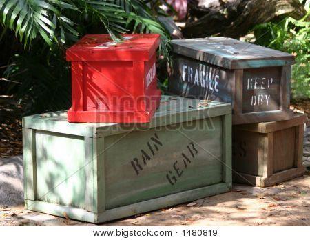 Wooden Crates Of Cargo For Safari