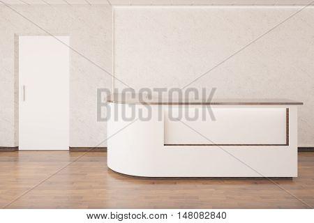 Interior with empty reception desk wooden floor concrete walls and white door. 3D Rendering