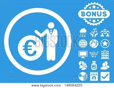 Euro Economist icon with bonus symbols. Vector illustration style is flat iconic symbols white color blue background.