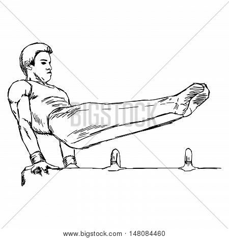 illustration vector doodle hand drawn of male gymnast performing on pommel horse