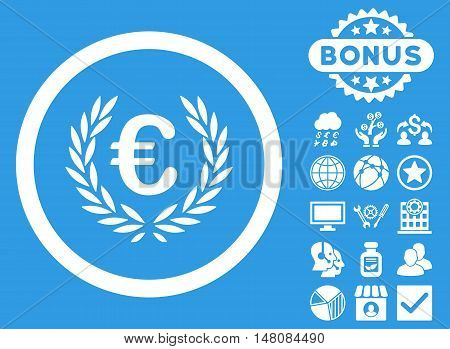 Euro Glory icon with bonus pictogram. Vector illustration style is flat iconic symbols white color blue background.