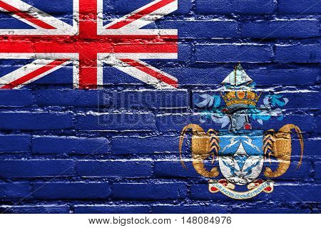 Flag Of Tristan Da Cunha (part Of Saint Helena, Ascension And Tristan Da Cunha), Painted On Brick Wa