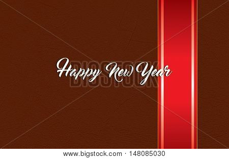 Red ribbon bow and leather background with happy new year text. Concept collection Xmas with copyspace.