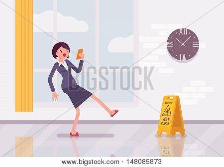 Woman with a smartphone slipps on the wet floor. Cartoon vector flat-style concept illustration