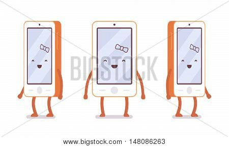 Smiling girl smartphone from different sides with legs and hands isolated against white background. Cartoon vector flat-style illustration
