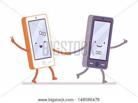 Boy and girl smartphones are walking hand in hand. Cartoon vector flat-style illustration