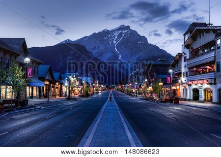 Banff Alberta Canada - June 1 2009 : :night view of Main Street of Banff townsite in Banff National Park Alberta