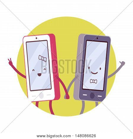 Happy smartphone pair in a green circle. Boy and girl smartphones hand in hand. Cartoon vector flat-style concept illustration