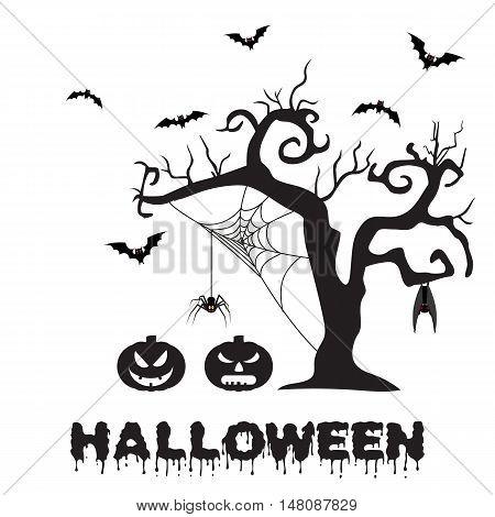 Spooky silhouette of Halloween tree, pumpkin, spider on web and bats. vector illustration for Halloween design, website, flier, invitation card