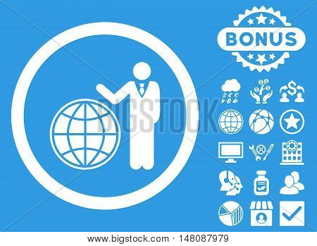 Global Manager icon with bonus elements. Vector illustration style is flat iconic symbols white color blue background.