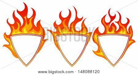 Burning shield form frame set on white background