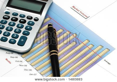 Stock Market Volume Bar Chart, Calculator And Pen