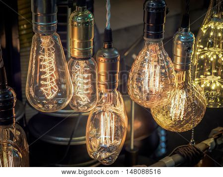 Vintage tungsten light bulbs, Selective focus and close up image