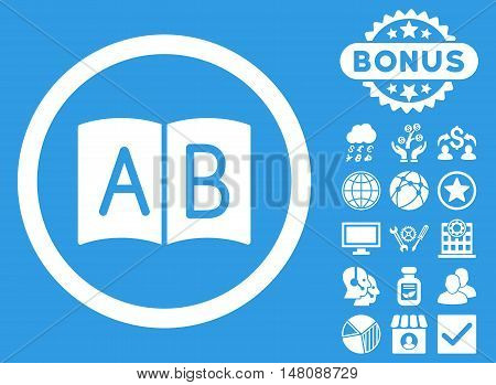 Handbook icon with bonus pictogram. Vector illustration style is flat iconic symbols white color blue background.
