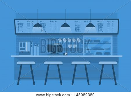 vector illustration design of coffee shopcoffee barcounter Blue monotone color backgroundflat style