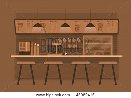 vector illustration design of coffee shopcoffee barcounter Brown monotone color backgroundflat style