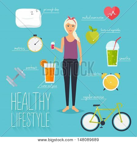 Concept of healthy lifestyle infographics. Young woman lead a healthy lifestyle. Icons for web: fitness healthy food and metrics. Flat design vector illustration.