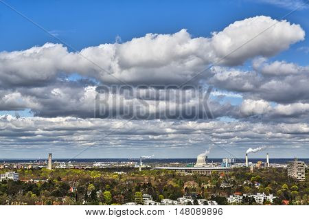 skyline of Berlin with olympic stadium and cloudscape