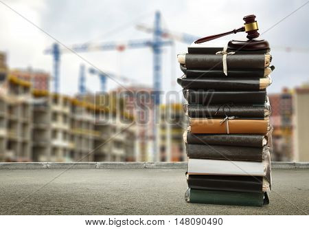 Gavel On Buildings And Cranes Background
