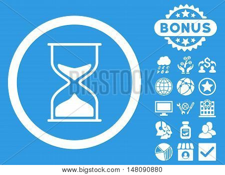 Hourglass icon with bonus elements. Vector illustration style is flat iconic symbols white color blue background.